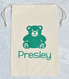 Glitter Teddy Bear Christmas Personalized Holiday Gift Bag