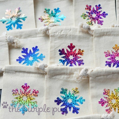 Sparkling Snowflakes Tiny Twinkle custom gift sacks. Set of 12