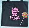 GIRLY MONSTER Personalized Glitter Halloween Twinkle Tote Bags