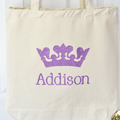 Princess Crown glitter personalized custom Twinkle Tote Bag
