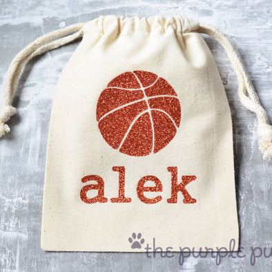 brilliant basketball sports sparkle sack gift favor bags