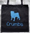 Cream Off White Cotton Canvas Glitter Personalized PUG pup Twinkle Tote Bags