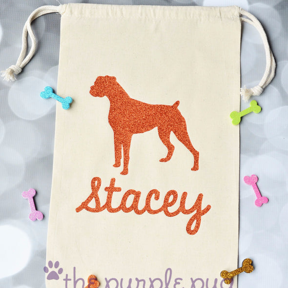 glitter boxer dog personalized gift bag