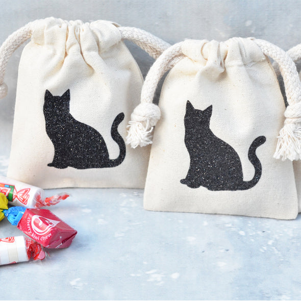 glitter black cat small candy party favor bags