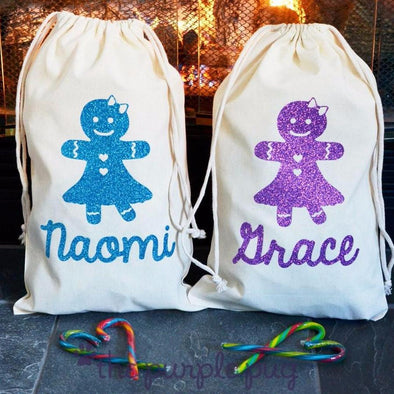 glittery gingerbead girl christmas sparkle sack