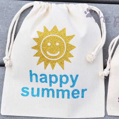 Happy Summer Sunshine custom glitter personalized Sparkle Sack Gift Bags