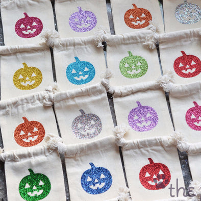 glitter small jack o lantern pumpkin Halloween treat sack bags