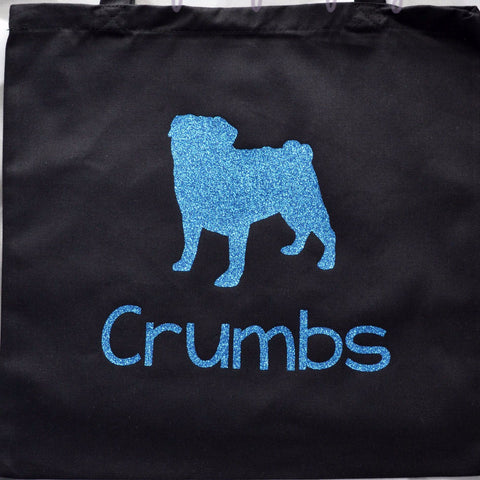 Black Cotton Canvas Glitter Personalized PUG pup Twinkle Tote Bags