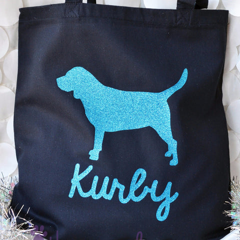 Black Cotton Canvas Glitter Personalized BEAGLE Twinkle Tote Bags