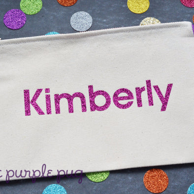 personalized glitter name cotton canvas handmade zipper pouch