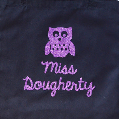 wise glitter owl teacher tote holiday classroom gift