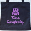 Happy Holiday Classroom Teacher~ Glitter custom WISE OWL Twinkle Tote Bags
