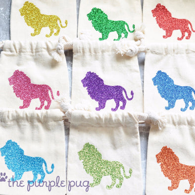 king of the jungle lion sparkling party favor bags