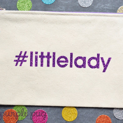 handmade cotton canvas hashtag zipper pouch