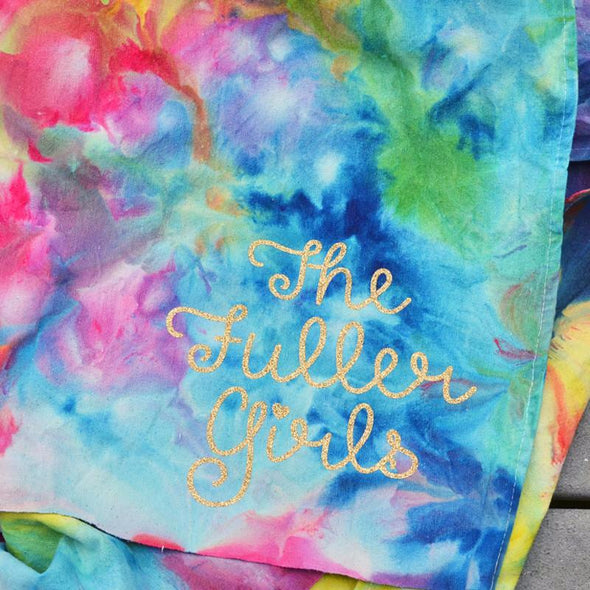 hand ice dyed melted snow cone beach picnic throw