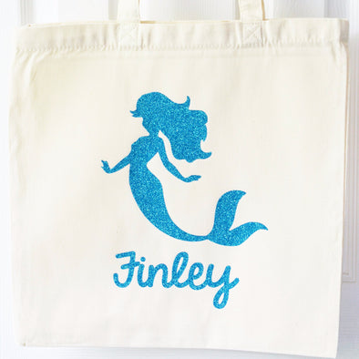 glittery mermaid personalized tote bag