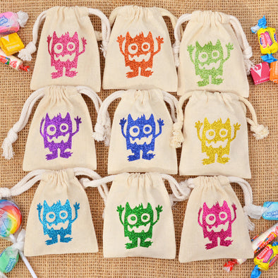 tiny trick or treat party favor mini monster bags