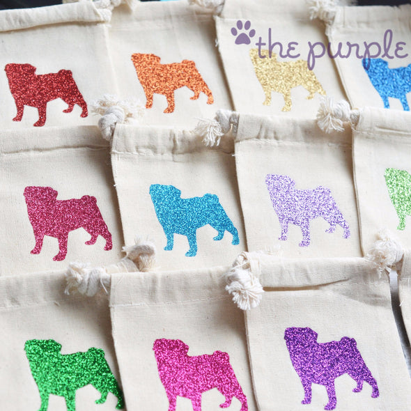 twinkling pup puppy tiny fabric cotton favor treat bags