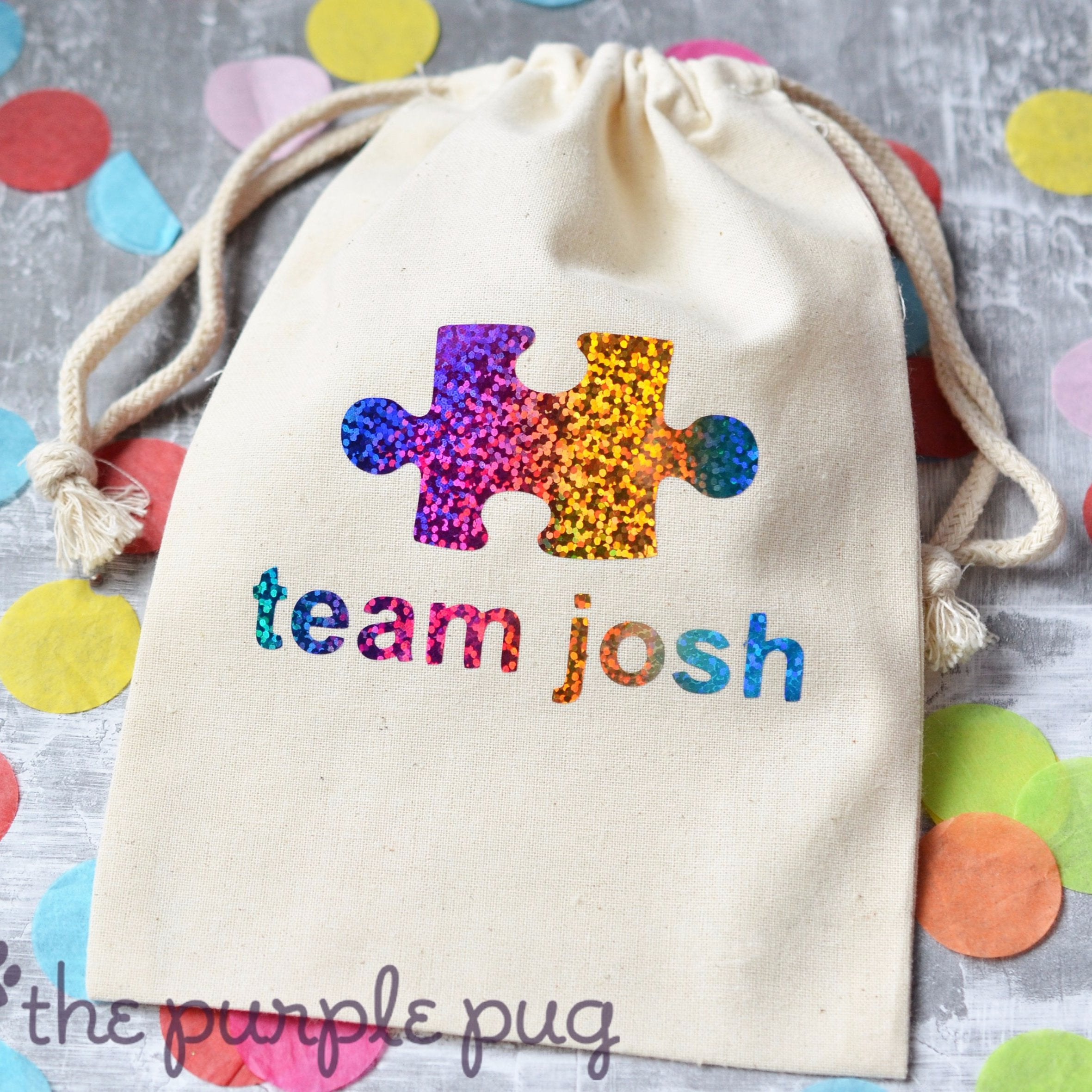 Autism awareness puzzle piece personalized sparkle sack gift bags autism awareness puzzle piece personalized sparkle sack gift bags the purple pug negle Images