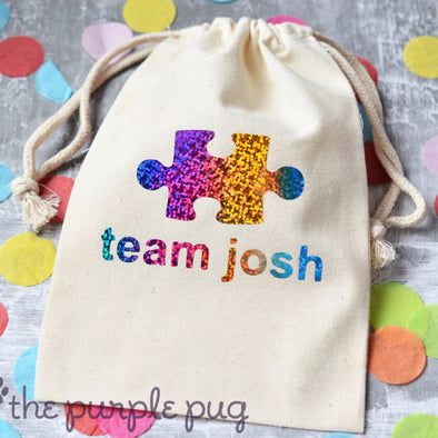 autism awareness puzzle piece rainbow gift sack