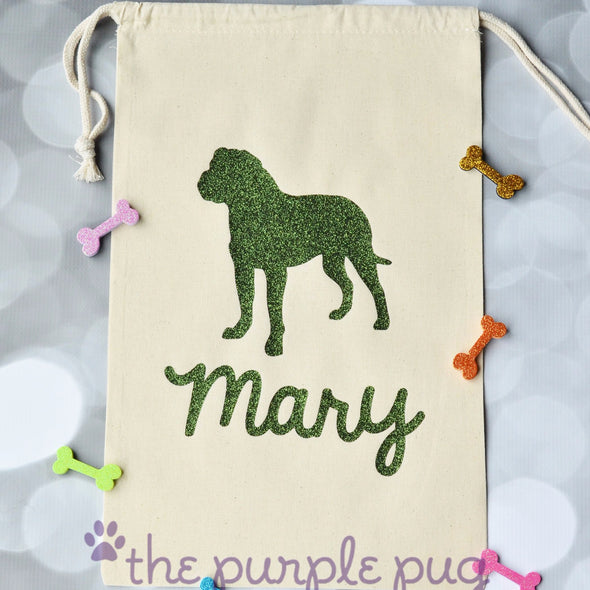 rottie glitter cotton muslin personalized gift sack