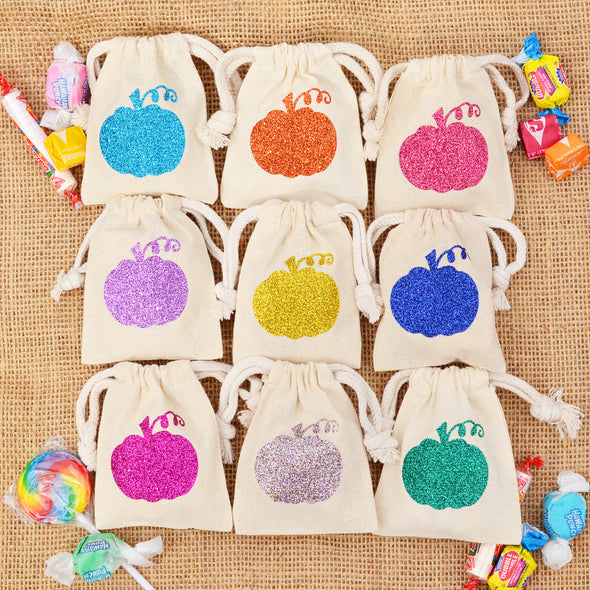 Set of 12 or 25 Mini Halloween SIMPLE PUMPKIN Fall Sparkle Sack Party Pack™