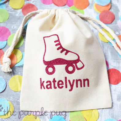 glitter roller skate custom cotton drawstring bag