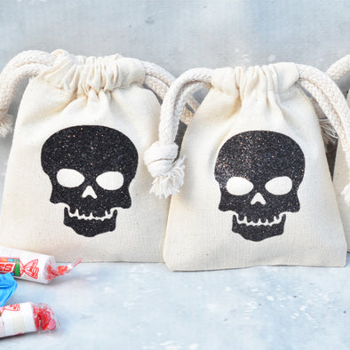 glitter skull mini sets of candy favor bags