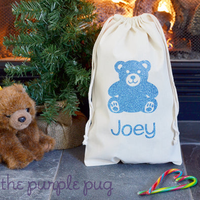 glitter holiday teddy bear sparkle sack gift bag