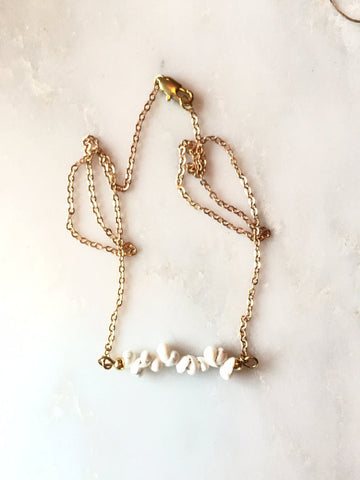 White Shell Bar Necklace