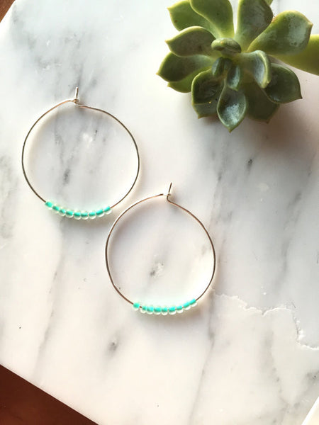 Glass Turquoise Beaded Hoop Earrings