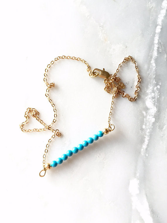 Bright Blue Bar Necklace