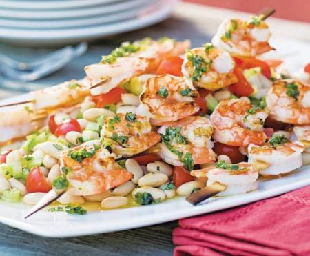 WHITE BEAN SALAD WITH GRILLED SHRIMP ON SKEWERS