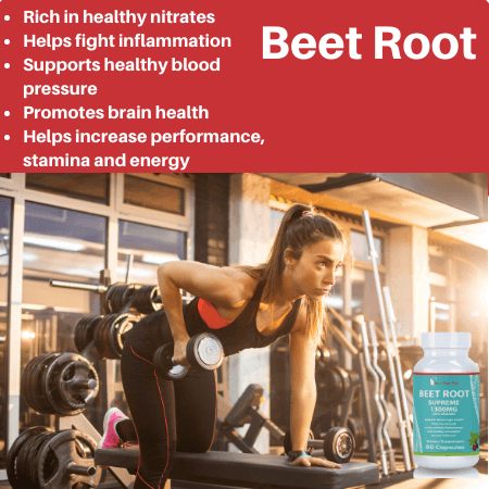 Beet Root Supreme, 1300mg, Non-GMO, Pure Vegan, Blood Pressure Support, 60 Capsules - Lose A Pound Daily