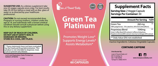 Green Tea Platinum Slendering System - Lose A Pound Daily