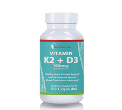 Vitamin K2 (MK7) + D3, 100mcg, 5000IU Supplement, 60 Capsules
