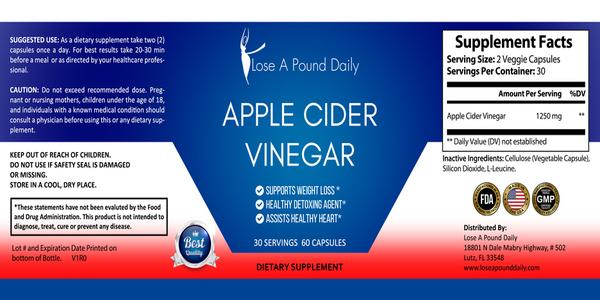 Apple Cider Vinegar Capsules, 60 count - Lose A Pound Daily