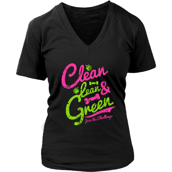 Clean, Lean & Green V-Neck Tee - Lose A Pound Daily