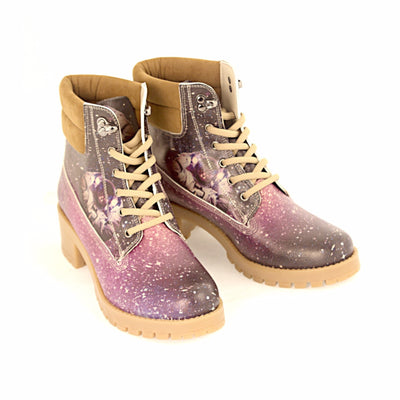 """Astronaut Cat"" Padded Combat Boots Shoes Goby - Pimpos Australia"