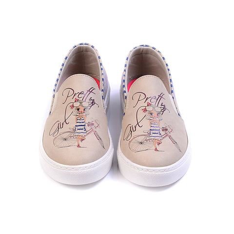 """Beige & Flamingo"" Slip-On Sneaker - Memory Foam"