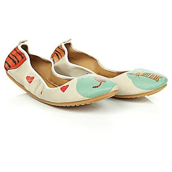 Blue & Orange Cat Folding Ballet Flat
