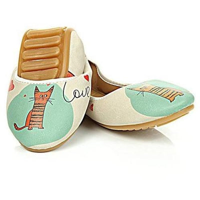 Blue & Orange Cat Folding Ballet Flat Women Shoes Goby - Pimpos Australia