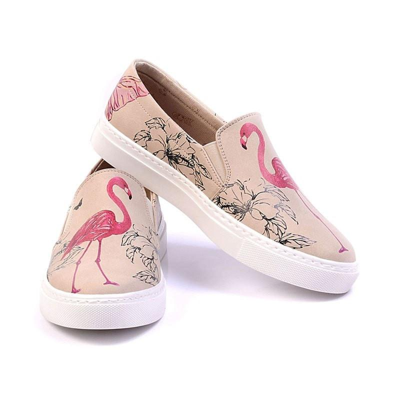 """Beige & Flamingo"" Slip-On Sneaker - Memory Foam Women Shoes Goby - Pimpos Australia"