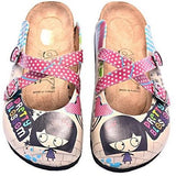 Beige & Red Polka Dot Doodle Clog Women Shoes Goby - Pimpos Australia