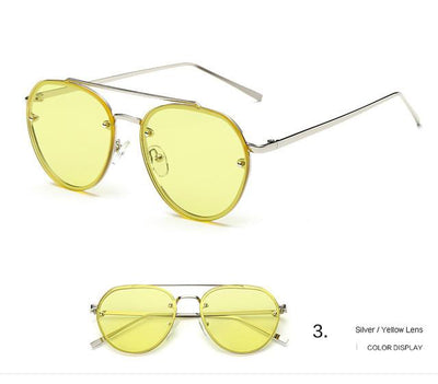 Women Round Sunglasses Metal Retro Glasses Shiny tinting Lens