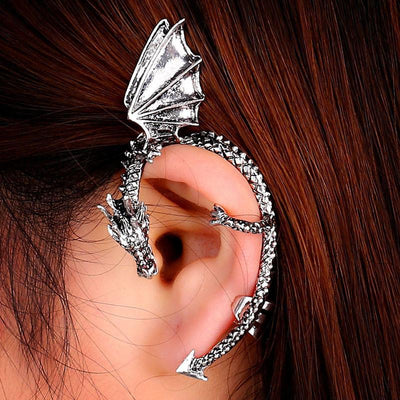 Metal Dragon Earring BK Steanpunk