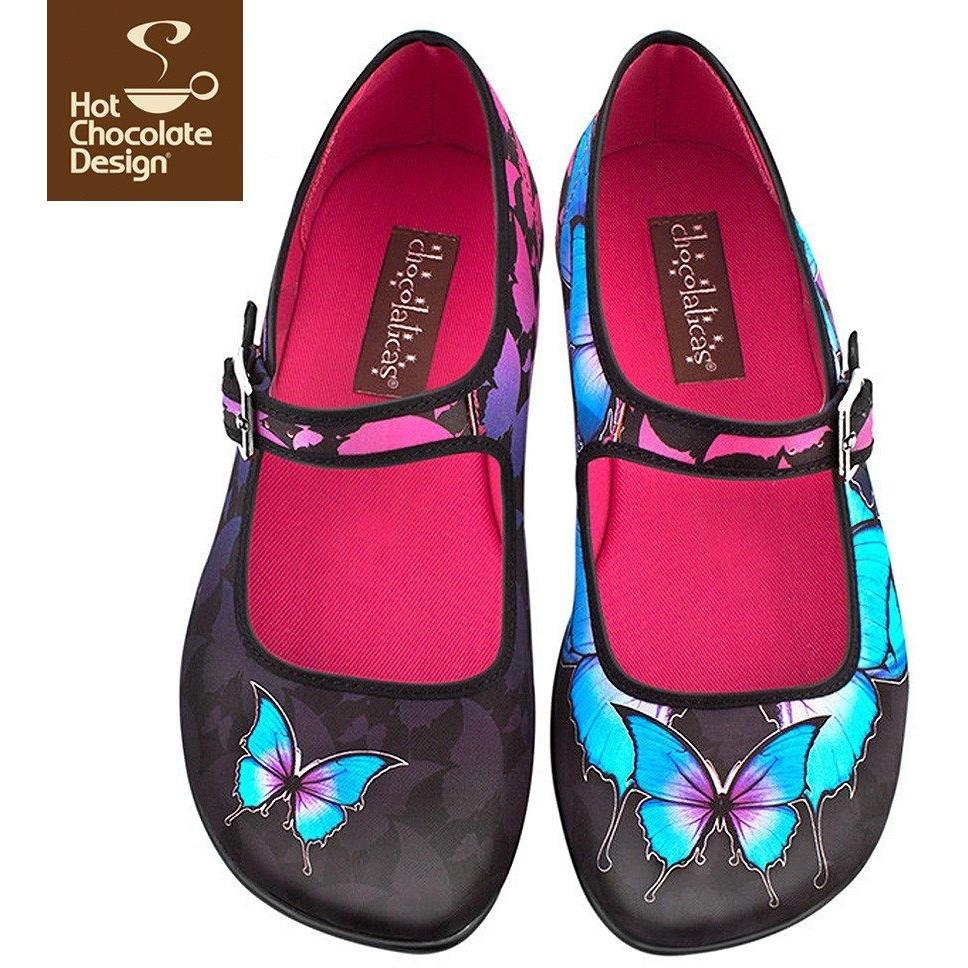 Dark Butterfly Flats Shoes Hot Chocolate Design - Pimpos Australia