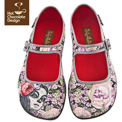 Flora la Muerte Flats Shoes Hot Chocolate Design - Pimpos Australia