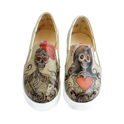 """Sugar Skull & Heart"" Slip-On Sneakers Women Shoes Goby - Pimpos Australia"