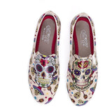 Women Shoes - Beige & Red Sugar Skull Slip-On Sneaker- Memory Foam